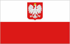 More details for poland flag with state eagle 8ft x 5ft giant national flag - 2 eyelets