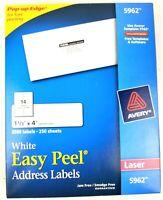 Avery White Easy Peel Address Labels 5962 Laser 250 Sheets 3500 Labels Jam Free