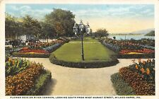 Wilkes-Barre Pennsylvania 1921 Postcard Flower Beds on River Common