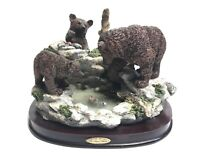 The Juliana Collection Bears And Cubs Catching Fish By Lake Figurine Ornament