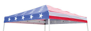 Pop Up Canopy Replacement TOP ONLY 10x10/8x8 Fits Slant Leg Frame American Flag