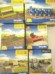 Bruder verschiedene Anhänger Zubehör Spielzeug Anbaugerät Traktor Ernte Mähwerk