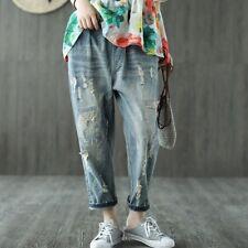 Womens Elastic Waist Denim Casual Jeans Ripped Hole Ninth Pants Trousers Fashion