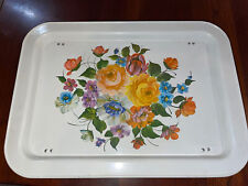 Vintage Metal Tv Lap Tray W/ Folding Legs Floral Flowers Bed Tray Food Euc