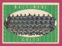 1961 Topps Football # 9 Baltimore Colts Team Card -- Box 708-166