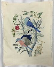 Vtg Paragon Stitchery Completed Linen Textile Art Bird Floral Embroidery 14 x 18