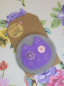 Zombie Cat Handcrafted Felt Brooch Pin Badge Hand Sewn Purple & Grey Button Eyes