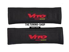 """2x pastillas de cubiertas de cinturón de seguridad de cuero negro """"Vito"""" Bordado Para Mercedes"""