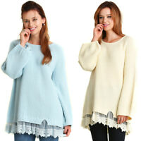 UMGEE Womens Blue Cream Lace Knit Long Puff Sleeve Blouse Top Sweater S M L