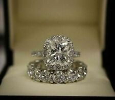 Cushion Cut CZ 3 CT Halo Bridal Set Engagement 925 Silver Ring 14K White Gold FN