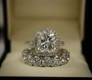 Cushion Cut CZ 3 CT Halo Bridal Set Engagement 925 Silver Ring 14K White Gold FN
