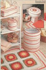 CROCHET PATTERNS FOR A FLOWER BABTHROOM ENSEMBLE: RUGS, TISSUE & LID COVERS +