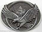 BELT BUCKLES Soaring Flying Eagle Mountains Ant. Silver Gray Oval Patriotic NWOT