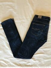 Red Engine Cayenne Low Rise Skinny Dark Blue Rose Design Jeans 26