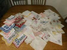 MIXED LOT 47 LADIES VINTAGE HANDKERCHIEFS HANKY'S FLORAL WEDDING EMBROIDERED