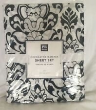 Pottery Barn Dorm Damask Sheet Set Black White FULL NWT