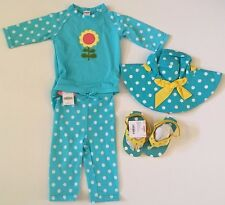 NWT Gymboree Happy Rainbow 2T Turquoise Polka Dot Rash Guard Swimsuit Hat Shoes