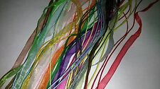 10 NEW ORGANZA RIBBON & CORD NECKLACES Mixed Colours All Different B