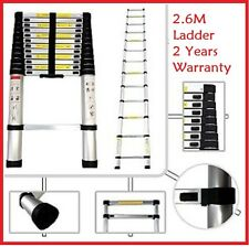 NEW 2.6m Telescopic Aluminium Ladder Alloy Extension Extendable Steps Folding