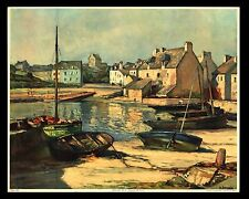 "ANTIQUE 1940 ""CAMARET BRITTANY FRANCE"" ART PRINT HENRI ALPHONSE BARNOIN"