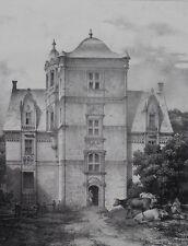 Lithographie Originale XIXème - Manoir de St Ouen - Le Comte Turpin de Crissé