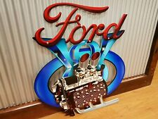 Ford V8 3D Metal tin sign Man cave bar Garage