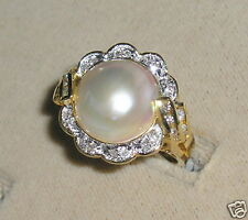 SOLID     14K Gold     MABE   Pearl   DIAMOND     Ring