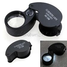 New 40X 25mm Jewellers Eye Glass Magnifier Magnifing Loupe LED Light Loop + Case