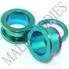 "0538 Green Surgical Steel Screw-on/fit Flesh Tunnels 9/16"" Inch 14mm Ear Plugs"