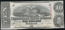 1863 $10 Ten Dollars Csa Confederate States Of America Au/Unc