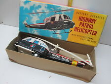 2 TIN TOYS BATTERY OPERATED HIGHWAY PATROL HELICOPTER NOMURA JAPAN  '60
