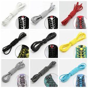No Tie Shoe Laces Lazy Elastic Round Shoelaces Lock Adult Kids Sport Trainer Acc