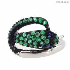 Sapphire Sterling Silver Designer Snake Emerald Vintage Look Ring Fine Jewelry