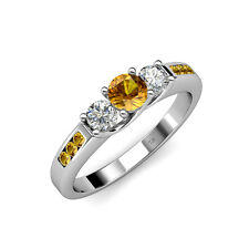 Citrine & Diamond 3 Stone Ring with Citrine on Side Bar 0.75 ct tw in 14K Gold