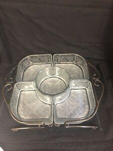 Princess House Fantasia Crystal Chip And Dip/ Veggie Server With Metal Caddy