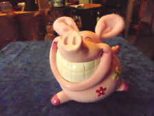 Pink Pig Money Box with Cloth Ears & What a Smile from Ear to Ear