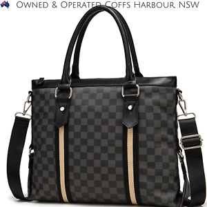 Black PU Leather Computer Laptop Satchel Briefcase Shoulder Handbag Women or Men