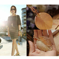 Fashion Elegant Lucky Golden Leaf Pendant Necklace Long Sweater Chain Lady