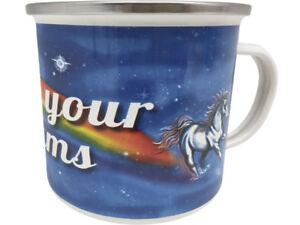 Follow your Dreams Einhorn XXL Blechtasse Emaille Becher Tasse 9 x 9 cm 500 ml