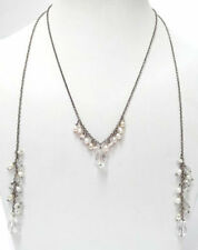 NEW PILGRIM SILVER PLATED LONG CHAIN NECKLACE BEAUTIFUL CRYSTALS PEARLS VINTAGE