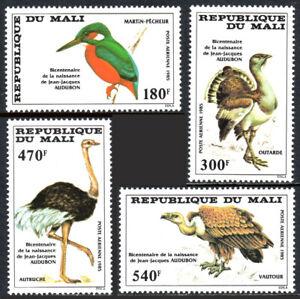 Mali C512-C515, MNH.John Audubon's birds.Kingfisher,Bustard,Ostrich,Buzzard,1985