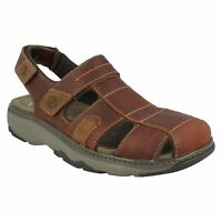 RAFFE BAY MENS CLARKS CLOSED TOE SLINGBACK BROWN LEATHER SUMMER SANDALS SHOES