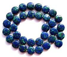 "Azurite Malachite Flat Coin/Disc Beads 12mm16"""