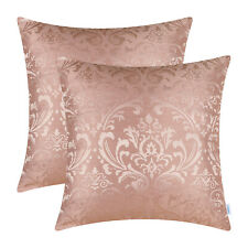 """2Pcs Dusty Pink Cushion Covers Pillows Shells Damask Florals Home Decor 18 x 18"""""""