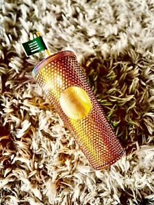 Starbucks 2021 50 YEAR  Anniversary Golden Copper STUDDED Venti Tumbler Cup 24oz