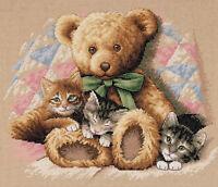 Cross Stitch Kit ~ Dimensions Teddy Bear & Kittens on Quilt #35236