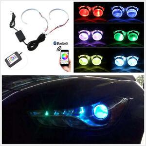 2 Pcs RGB LED 15SMD Car SUV Headlight Projector Retrofit Demon Eye Halo Ring 12V