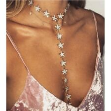 Rhinestone Star Necklace Choker Bling Drop Lariat Y Chain Silver New