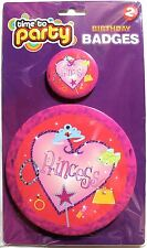 2 princess Birthday badges with safety pin, (1 small & 1 large) party, brand new