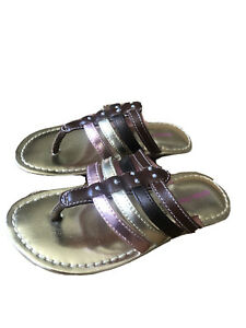 Stride Rite Thong Sandals Naomi Brown Pink Gold 8M
